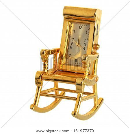 Armchair retro gilded clock isolated on white background