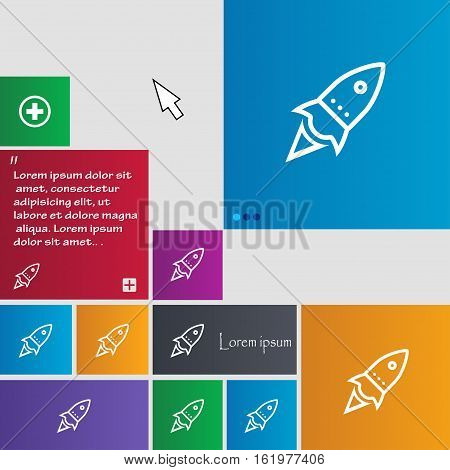Rocket Icon Sign. Buttons. Modern Interface Website Buttons With Cursor Pointer. Vector