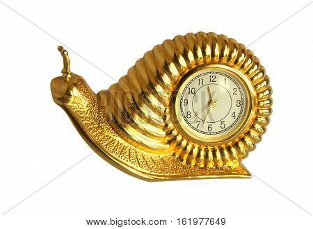 Snail retro gilded clock isolated on white background