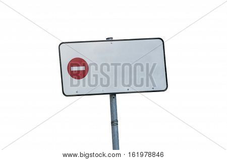 parallelogram metal prohibited road sign, no background