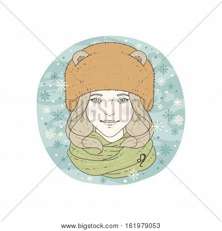 Leo zodiac sign. Winter season illustration. Vector illustration isolated on white.