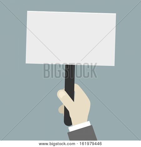 minimalistic illustration of a hand holding an empty protest sign, eps10 vector