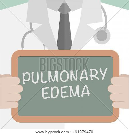 minimalistic illustration of a doctor holding a blackboard with Pulmonary Edema text, eps10 vector