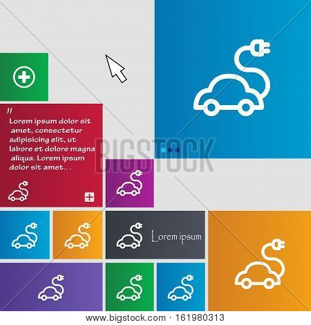 Electric Car Icon Sign. Buttons. Modern Interface Website Buttons With Cursor Pointer. Vector