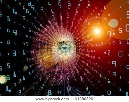 Digital Vision series. Arrangement of eye part of female face and integers on the subject of virtual technology math science and education