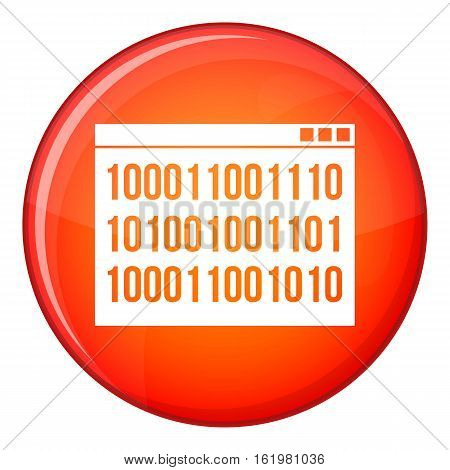 Binary code icon in red circle isolated on white background vector illustration