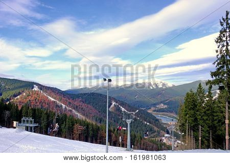 Modern ropeway at resort in mountains