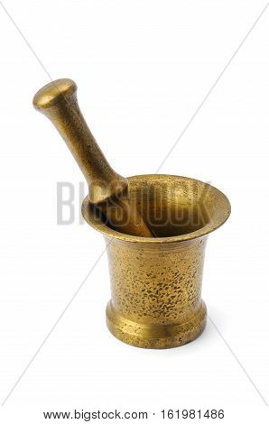 metal mortar and pestle isolated on white