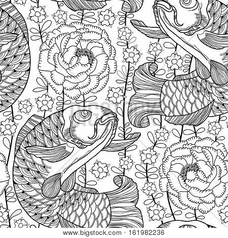 Vector seamless pattern with outline black koi carp and chrysanthemum or dahlia on the white background.  Japanese ornate fish and flower in contour style for coloring book. Background in linear art.