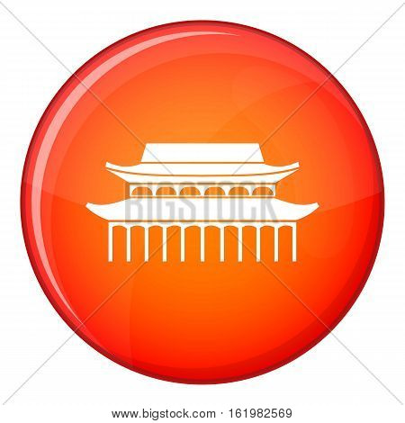 Buddha Toothe Relic Temple in Singapore icon in red circle isolated on white background vector illustration