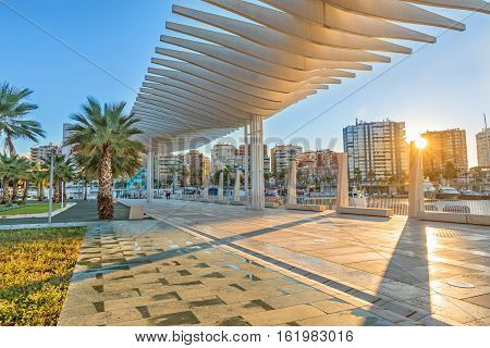 Pedestrian embankment in the port area of Malaga Andalusia Spain