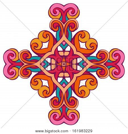 stained glass design element is the symbol of the cross.