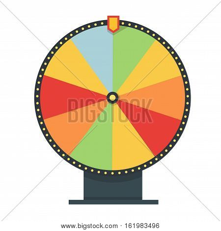 Fortune wheel in flat style. Blank template. Game money, winner play luck. Vector illustration.