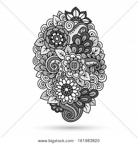 Ethnic floral zentangle, doodle floral background pattern in vector. Henna paisley mehndi doodles design tribal design element. Monochrome pattern for coloring book for adults and kids.