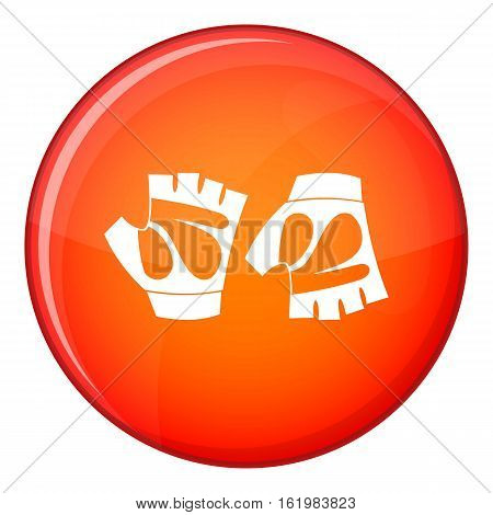 Cycling gloves icon in red circle isolated on white background vector illustration