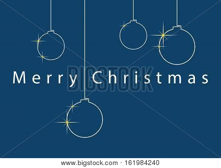 Christmas wishes - standard usa greeting card 5 x 7 inches. Four simple white Christmas baubles with text on a blue background.