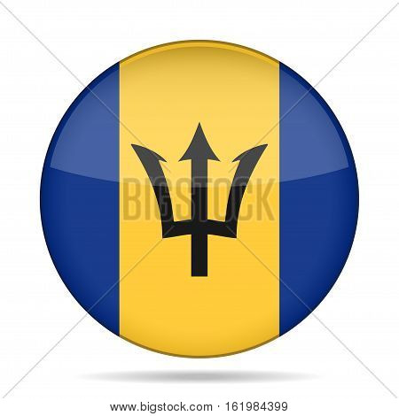 National flag of Barbados. Shiny round button with shadow.