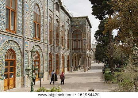 TEHERAN, IRAN - OCTOBER 2, 2016: People visiting the Golestan Palace on October 2, 2016 in Teheran, Iran, Asia