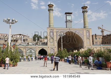 TEHERAN, IRAN - OCTOBER 1, 2016: People in front of the Imam Khomeini Mosque on October 1, 2016 in Teheran, Iran
