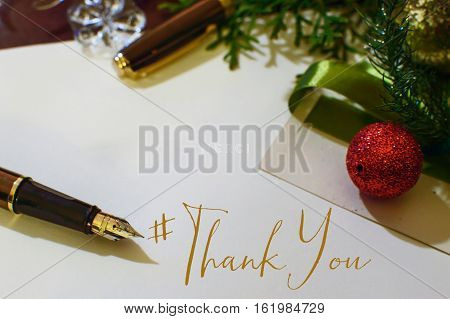 Christmas or seasons greetings thank you card with hashtag to send seasons greetings to social network friends, followers, community or clients at the end of the year thank you part of a series holiday #thankyou cards