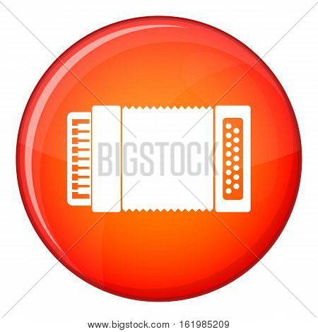 Accordion icon in red circle isolated on white background vector illustration