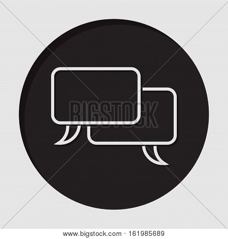 information icon black circle with white outline speech bubbles and shadow