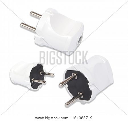 220 volt plugs on white white clipping paths