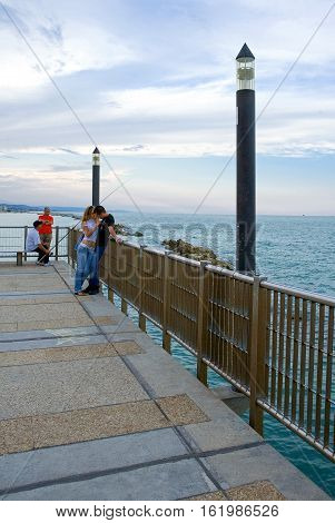 Francavilla Italy - September 11 2006: People in the gangway on the sea