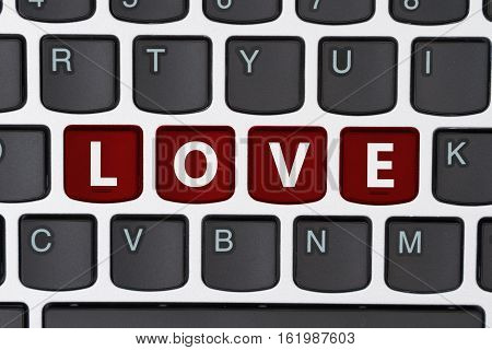 Searching for love online A close-up of a keyboard with red highlighted text Love