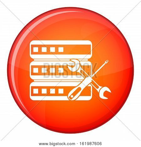 Database with screwdriver and spanner icon in red circle isolated on white background vector illustration