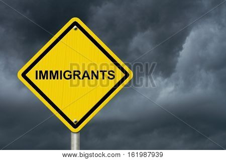 Immigrants Warning Sign Yellow warning road sign with word Immigrants with stormy sky background 3D Illustration