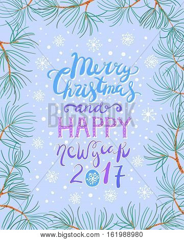 Cute hand drawn christmas and new year card with pine branch frame in blue color. Happy new year and merry christmas decorative lettering.