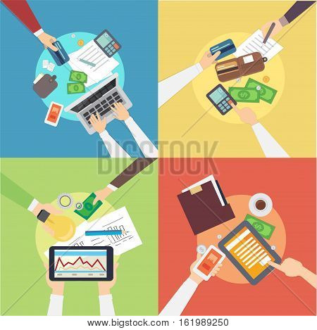 Flat design of vector banking concepts. Banking concept overhead vector illustration eps10