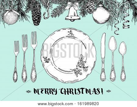 Hand drawn illustration of curly ornamental silver tableware plate a turquoise background. Vector frame with hand drawn elements: branches of fir cones streamers bell bow Christmas ball. Vector Illustration