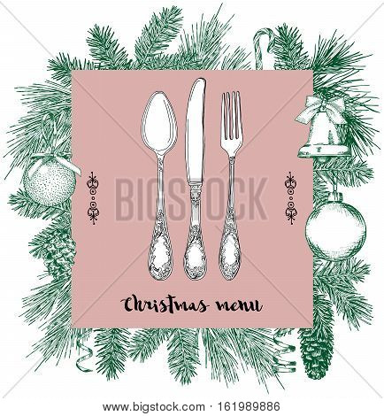 Hand drawn illustration of curly ornamental silver tableware plate a pink background. Vector frame with hand drawn elements: branches of fir cones streamers bell bow Christmas ball. Vector Illustration