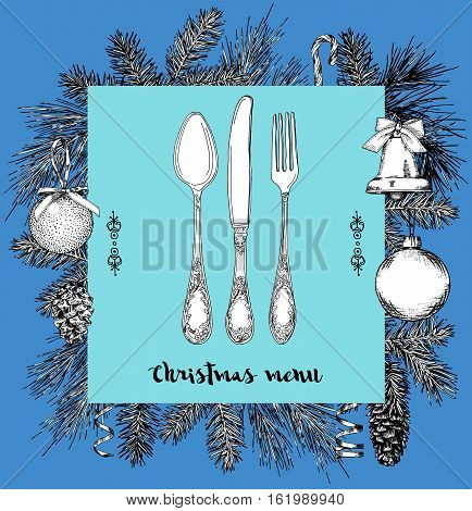 Hand drawn illustration of curly ornamental silver tableware plate a blue background. Vector frame with hand drawn elements: branches of fir cones streamers bell bow Christmas ball. Vector Illustration