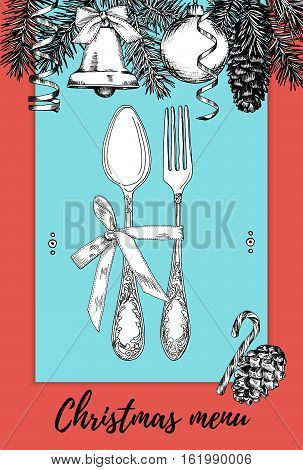 Hand drawn illustration of curly ornamental silver tableware plate a blue and red background. Vector frame with hand drawn elements: branches of fir cones streamers bell bow Christmas ball. Vector Illustration