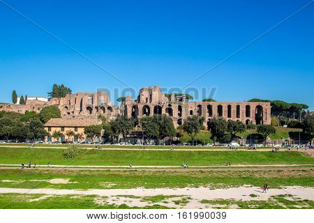 Circus Maximus an ancient Roman chariot racing stadium and the ruins in the Palatine hillin Rome Italy