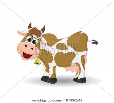 cartoon cow side view in brown spotted isolated on white background