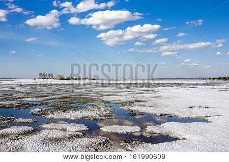 Spring landscape. The river Ob Novosibirsk oblast Siberia Russia
