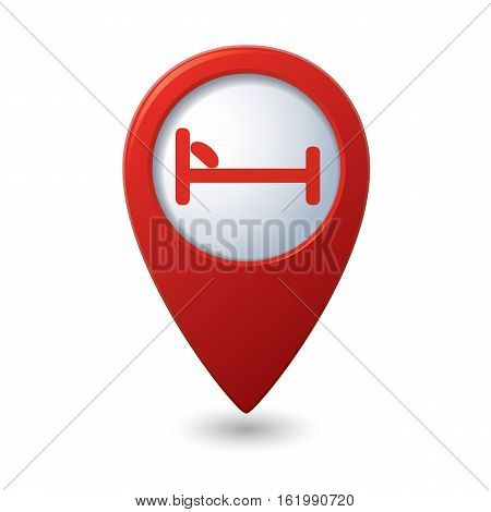 Red map pointer with hotel or hostel icon