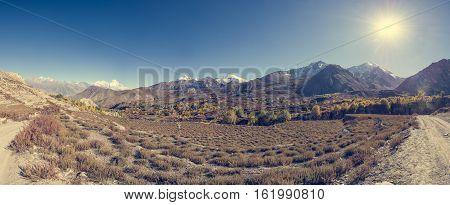 Panorama of arid mountain wasteland. Muktinath region in Nepal.