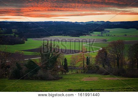 Rural Landscape In The Bavarian Foothills