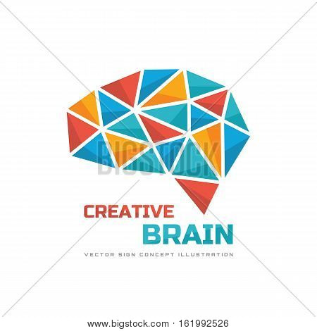 Creative idea - business vector logo template concept illustration. Abstract human brain creative sign. Infographic symbol. Polygonal design element.