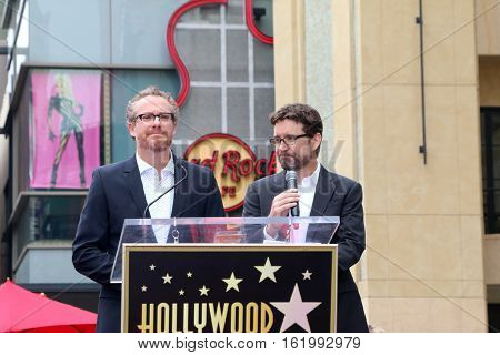 LOS ANGELES - DEC 15:  Rhett Reese, Paul Wernick at the Ryan Reynolds Hollywood Walk of Fame Star Ceremony at the Hollywood & Highland on December 15, 2016 in Los Angeles, CA