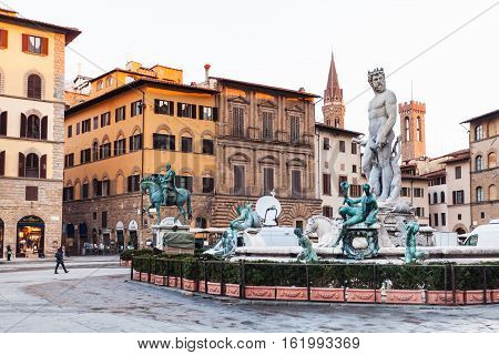 Fountain On Piazza Della Signoria In Florence City