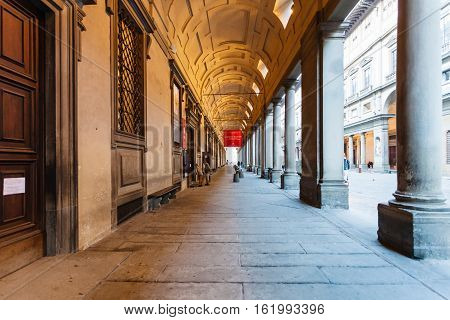Arcade Of Uffizi Gallery In Florence City