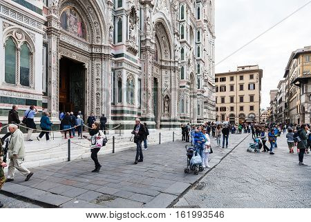 People On Piazza Del Duomo Near Cathedral