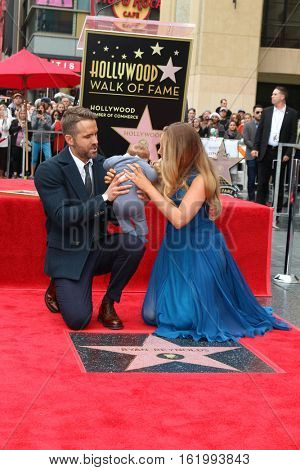 LOS ANGELES - DEC 15:  Ryan Reynolds, Newborn Reynolds, Blake Lively at the Ryan Reynolds Hollywood Walk of Fame Star Ceremony at the Hollywood & Highland on December 15, 2016 in Los Angeles, CA