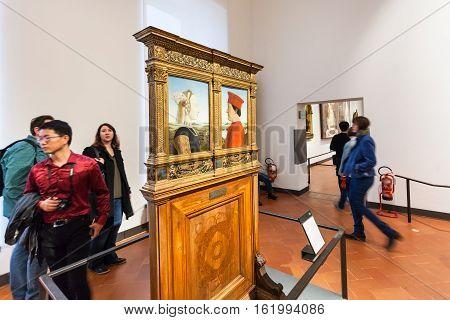 Visitors In Room Of Uffizi Gallery